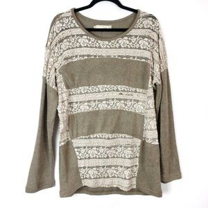 Anthro Areve Green Lace Sweater sz Large